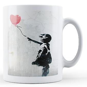 Banksy bedrukte mok - meisje met de rode ballon 2 - BKM095