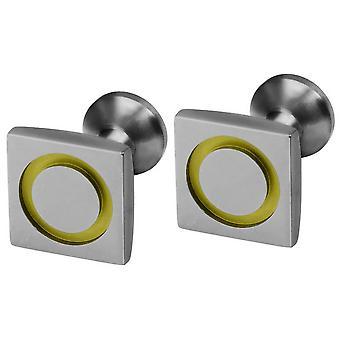 Ti2 Titanium Square Circle Inlay Cufflinks - Lemon Yellow