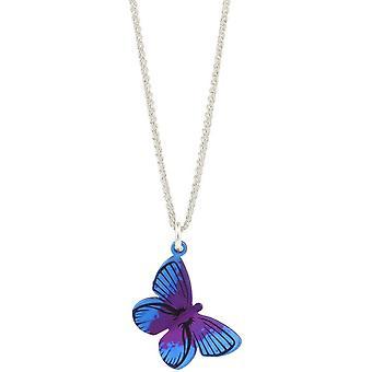 Ti2 Titanium Woodland Large Butterfly Pendant - Purple