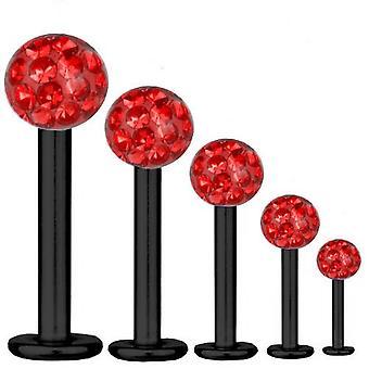 Labret Bar Tragus Piercing titanio negro 1, 2 mm, múltiples bolas de cristal rojo | 5-12
