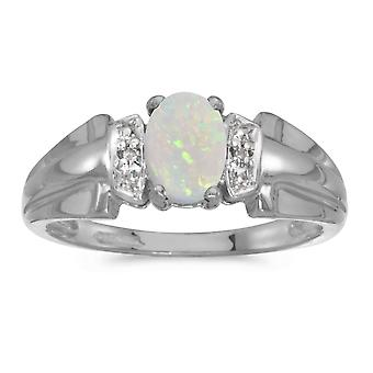 10 k hvitt gull ovale Opal og Diamond Ring