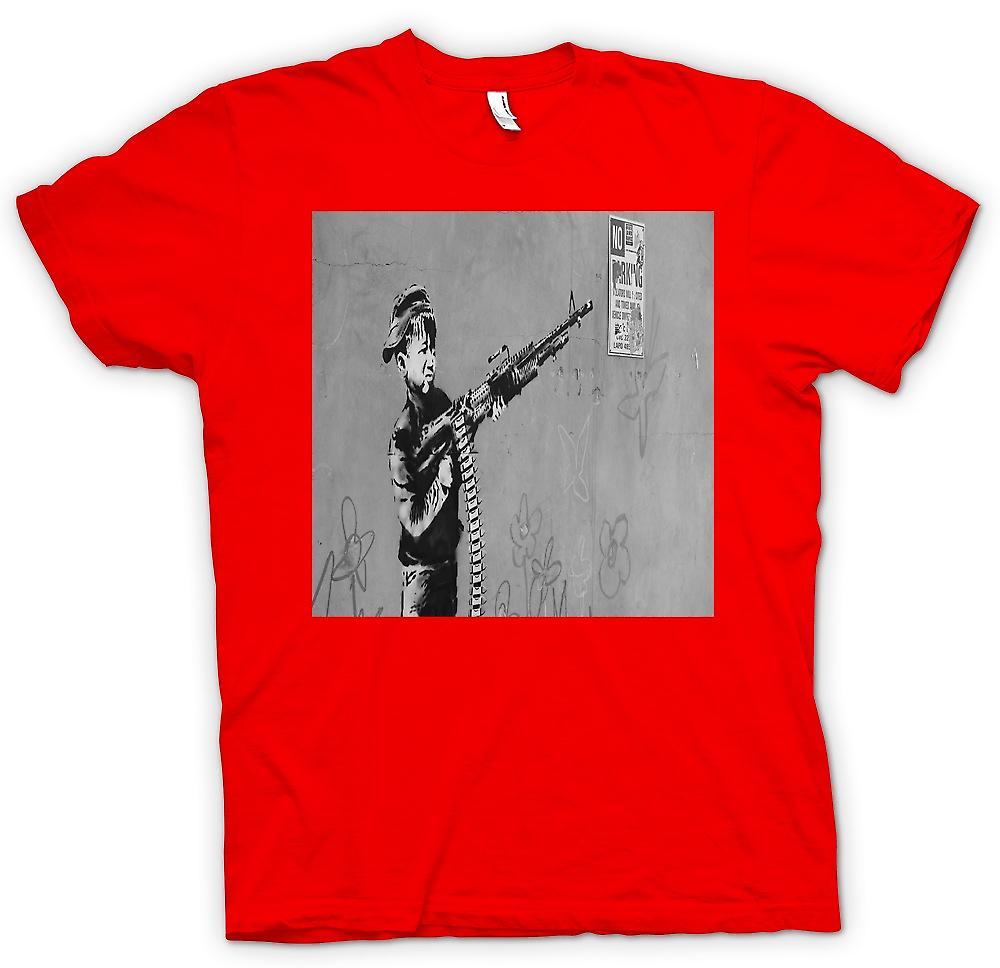 Mens t-shirt-Banksy Kid M60 Machien Gun Wall design