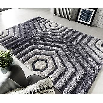Verge Hexagon Grey  Rectangle Rugs Plain/Nearly Plain Rugs