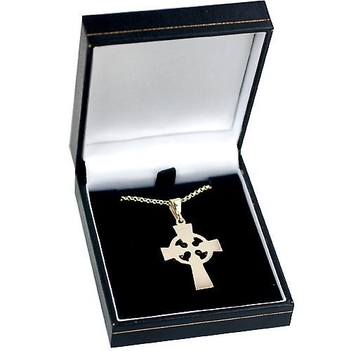 9ct Gold 35x24mm hand engraved Celtic Cross with bail on a belcher Chain 16 inches Only Suitable for Children
