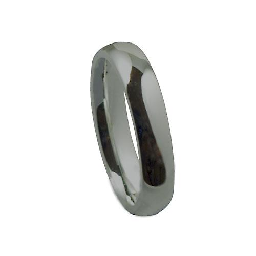 Platinum 4mm plain Court shaped Wedding Ring Size P