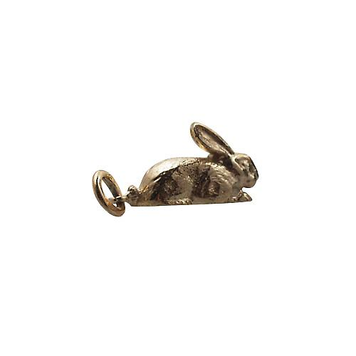 9ct or 18x10mm charme de lapin solide