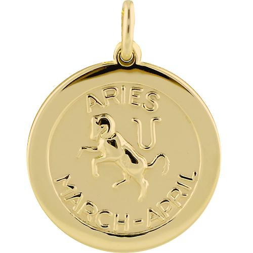 9ct Gold 22mm round Zodiac disc Aries