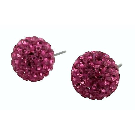Valentine Gift Rose Cubic Zircon Pave Earrings