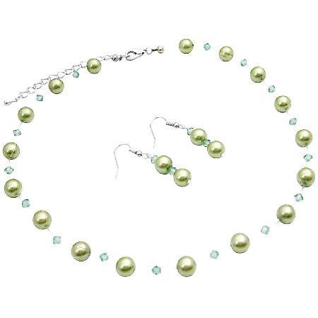 Prom Bridesmaid Bridal Jewelry Green Pearls Swarovski Erinite Crystals