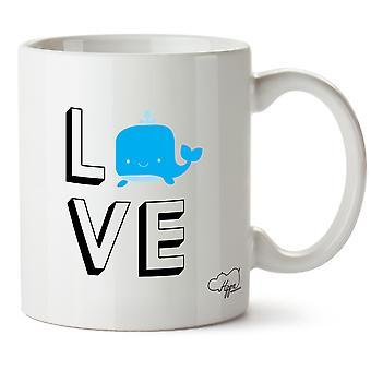 Hippowarehouse kärlek Whale tryckt mugg kopp keramik 10oz