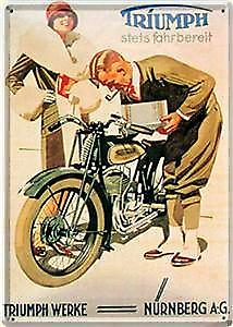 Triumph Werke Nurnberg metal postcard / mini-sign