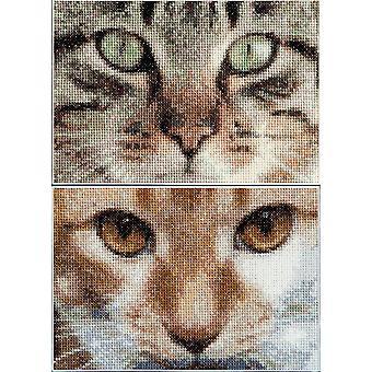 Cats Tess + Simba On Aida Counted Cross Stitch Kit-6.75