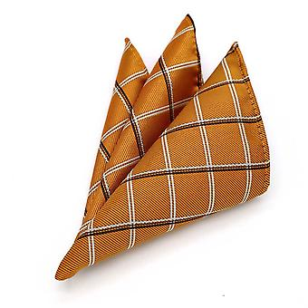 Orange black oat & white tartan pattern pocket square