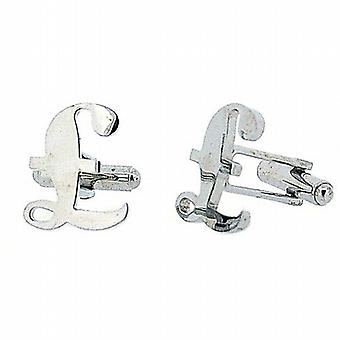 Jakob Strauss Gents Silvertone Pound Sign Cufflinks with Gift Box