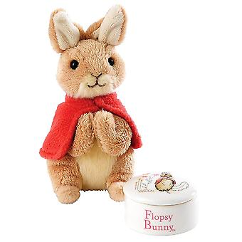 Beatrix Potter Flopsy Kaninchen Trinket Box und Soft Toy Gift Set