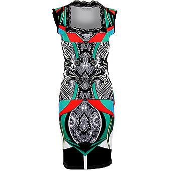 Ladies Lace Square Neck Multi Colour Patterned Stretch Bodycon Women's Dress