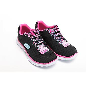 Skechers Skech Appeal Eye Catcher Girls Trainer, Black / Hot Pink