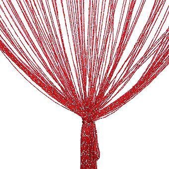 TRIXES String Dew Drop String Curtain -Glitter Thread Red- Door or Window Panel 90 x 200cm Perfect as Fly Screen