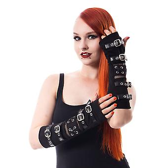 Poizen industries riot armwarmers - black gothic punk buckle strap sleeves