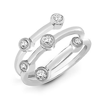 Jewelco London Solid 18ct White Gold Rub Over Set Round G SI1 0.35ct Diamond Bubble Wrap Dress Ring 12mm