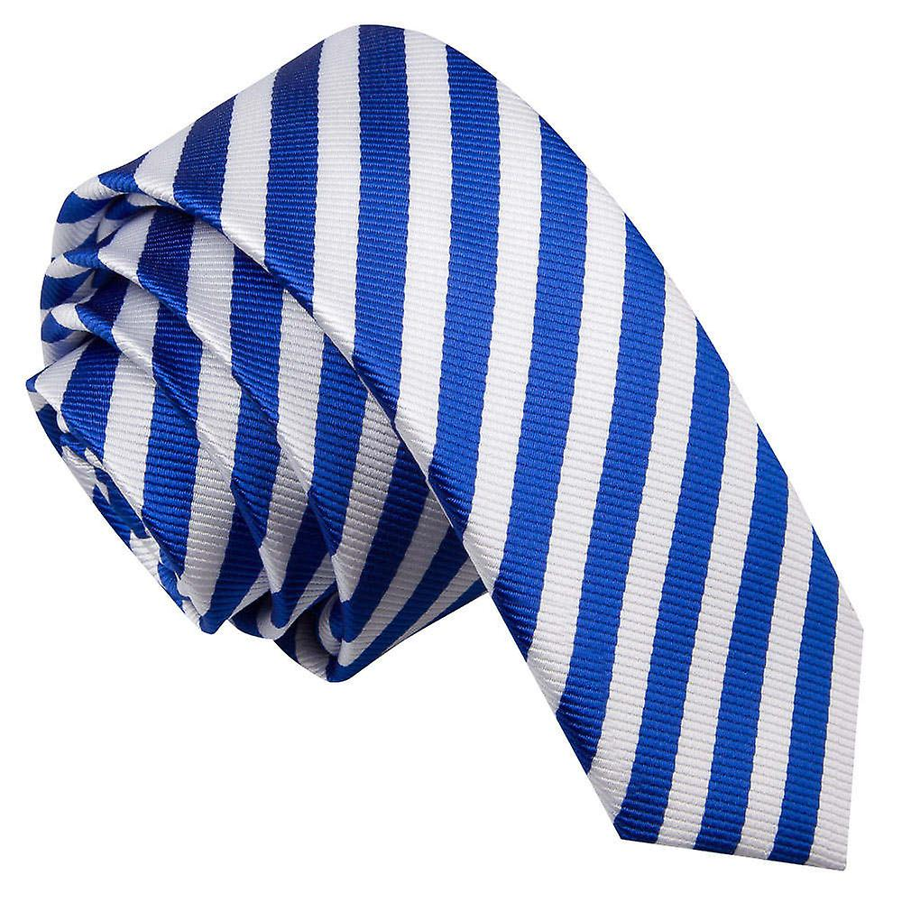 Thin Stripe White & Royal Blue Skinny Tie