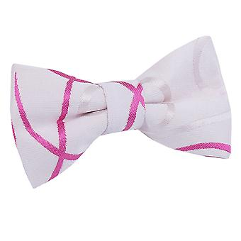 Boy's White & Hot Pink Scroll Pre-Tied Bow Tie