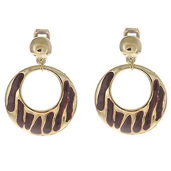 Clip On Earrings Store Gold  and  Brown Zebra Enamelled Round Drop Hoop Clip On Earrings