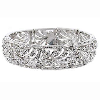 Zilver en Swarovski Crystal filigraan bloemen Manchet armband Bridal wissen