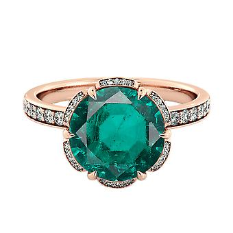 14K Rose Gold 3.50 ctw Emerald Ring with Diamonds Flower Vintage Halo
