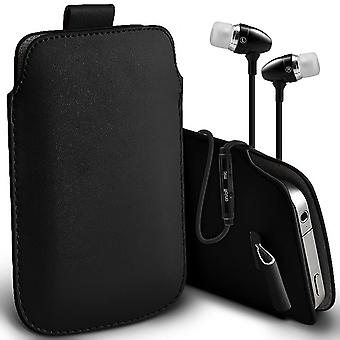 ( Black + Earphones) Pouch Case For BLACKVIEW OMEGA PRO case Premium Stylish Faux Leather Pull Tab Cover By i-Tronixs