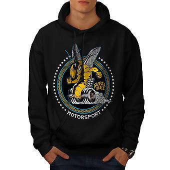 Wellcoda | Abeille super voiture Sport Mens Black Hoodie