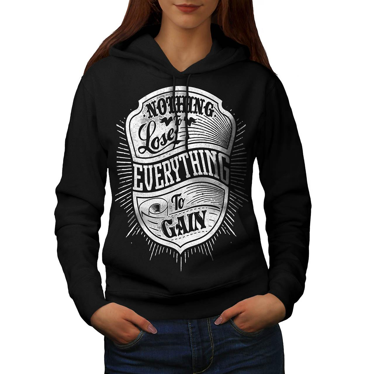 Nothing Lost Gain Gym Everything Women Black Hoodie | Wellcoda