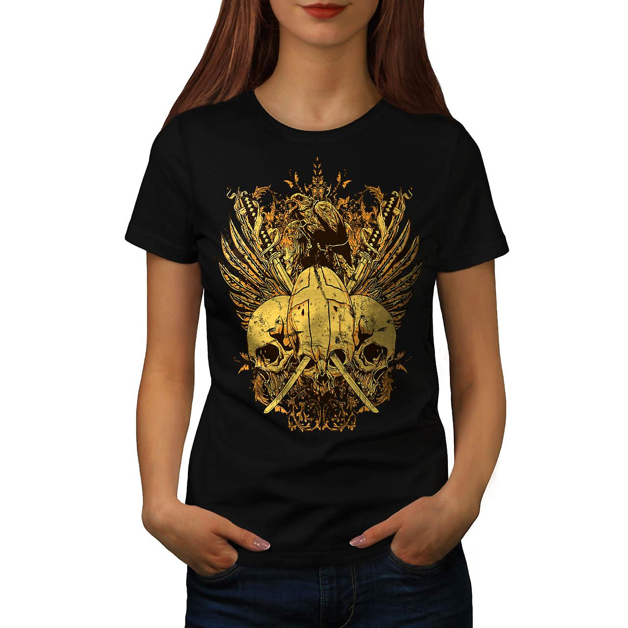 T-shirt nero donne teschio spada lotta ascia morte Bird | Wellcoda