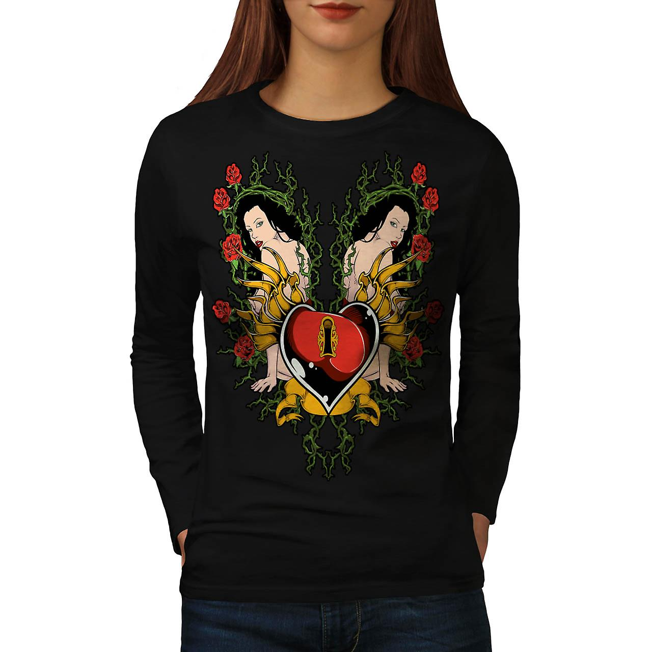 Lock Heart Girl Valentine Women Black Long Sleeve T-shirt | Wellcoda