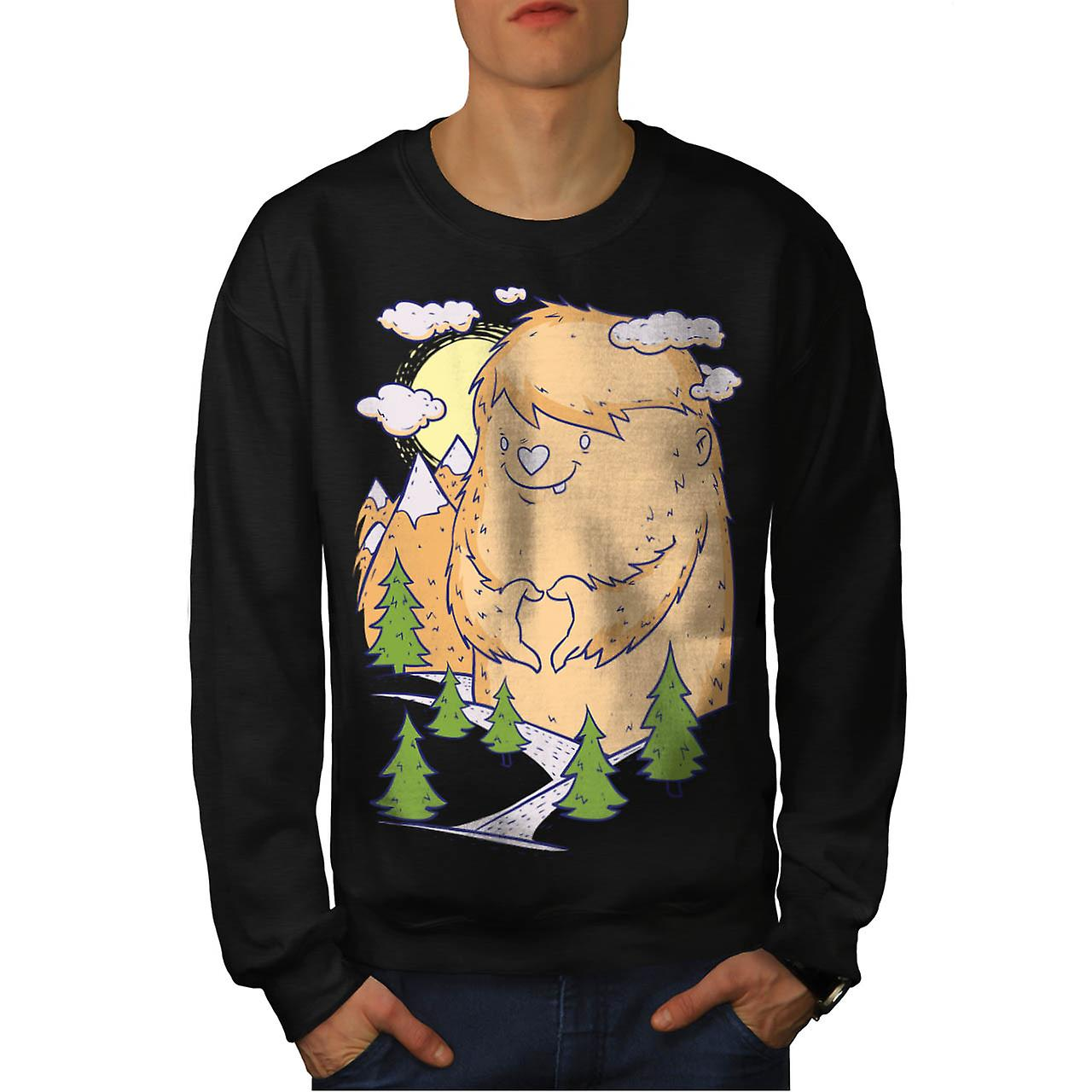 Cute Monster Hill Animal Men Black Sweatshirt | Wellcoda