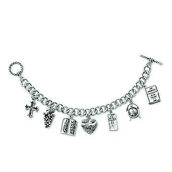 Sterling Silver Polished Gift Boxed Toggle Closure Rhodium-plated Antique finish Antiqued Charm Bracelet - 7.5 Inch