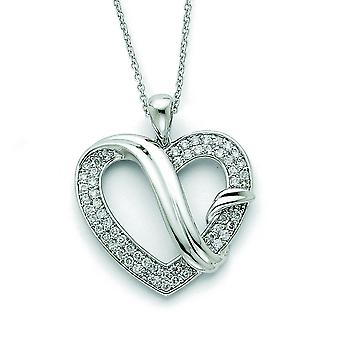 Sterling Silver CZ Forever Grateful 18inch Necklace