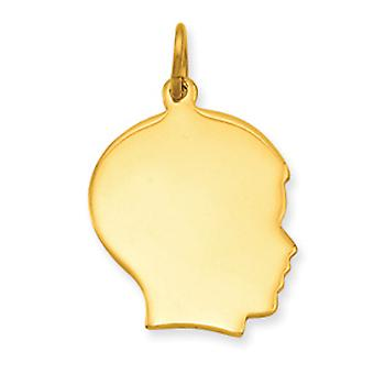 Gold-Flashed Polished back Large Polished Engravable Boys Head Charm