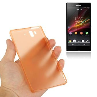Protective cover case ultra thin 0.3 mm for mobile phone Sony Xperia Z / L36H / C660X Orange transparent