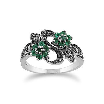 Gemondo 925 Sterling Silver Art Nouveau 0.43ct Emerald & Marcasite Floral Ring