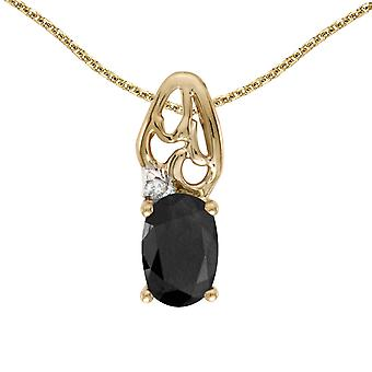 10k Yellow Gold Oval Onyx And Diamond Pendant with 18