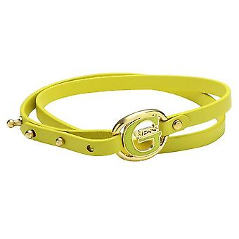 Guess ladies black leather bracelet yellow stainless steel gold UBB12238