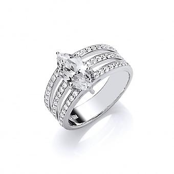 Cavendish French Silver and CZ Triple Band Marquise Ring
