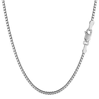 14k White Gold Classic Mirror Box Chain Necklace, 1.4mm