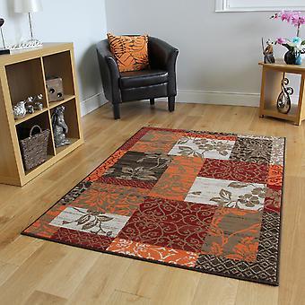 Warme Terracotta wijn Patchwork tapijt Milaan