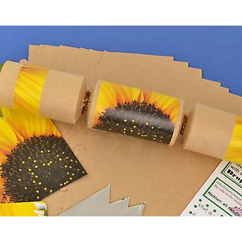 8 Kraft Summer Sunflower Make & Fill Your Own Party Crackers Craft Kit
