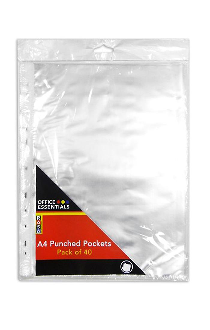 A4 Plastic Wallets Punched Pockets Clear Pack of 40 Document Filing Presentation