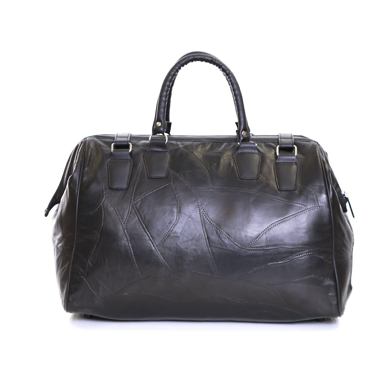 Slimbridge Malaga bolsa de viaje de cuero, negro