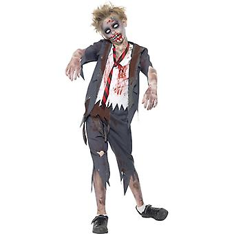 Zombie costume students with pants jacket part of shirt and tie
