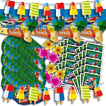 Beach party decoration set XL 86-teilig for 32 guests at Beach Party summer Hawaii beach party package